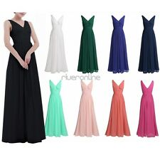 Women Sleeveless V Neck Chiffon Bridesmaid Dress Evening Party Long Prom Gown