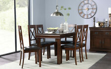 Fenchurch Dark Wood Dining Room Table & 4 6 Kendal Chairs Set (Brown)