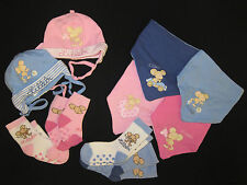 Baby Hat Burp cloth Scarf Socks of Lillebi in Blue & Pink various Sizes