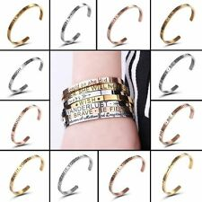 Engraved Stainless Steel Wish Love Cuff Bracelet Bangle Family Womens Jewellery