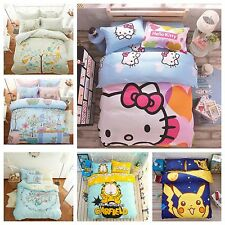 New Kid Cartoon Hello Kitty Garfied Bed Quilt Cover Cotton Set Single/Queen/King