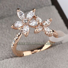B1-R613 Fashion Flower Ring 18KGP CZ Rhinestone Crystal Size 6-8