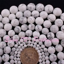 """Natural Round Faceted White Howlite Gemstone Beads Spacer Strand 15"""" 4,6,8,10mm"""