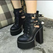 Punk Rock Womens HighBlack  Heels Platforms Lace Up Ankle Boots Shoes New Hot SZ