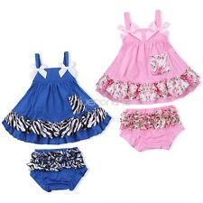 Newborn Baby Girl Bowknot Swing Top Pants Set Bloomer Outfit Ruffles 3-12 Months