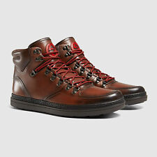 GUCCI 368496 Mens Leather Sneaker Boot Brown Shoes High Top Lace Up Betis $879