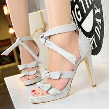 Strappy High Heel Open Toe Sandal Bowknot Stiletto Sweet Platform Womens Shoes
