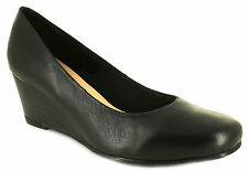 New Ladies/Womens Black Comfort Plus Margo Wide Fit Court Shoes. UK SIZES