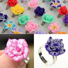 5-100Pcs Wholesale Lots Mixed Rings Adjustable Soft Resin Flower Children Ring