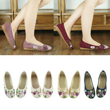 Fashion Chinese Embroidered Floral Shoes Women's Ballerina Mary Jane Flat Ballet