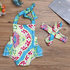 Newborn Baby Girl Floral Halter Romper Bodysuit Headband Backless Outfit Sunsuit