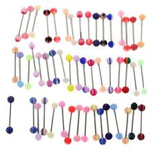 50/60Pcs Tongue Bars Steel Barbell Rings Mixed Color Ball Body Piercing Jewelry