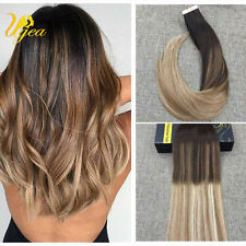 Ombre BalayageBrown Tape in Remy Human Hair Extensions Brazilian Hair 40pcs/100g