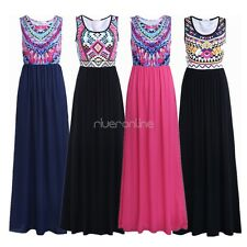 Women's Summer Bohemian Geometry Floral Sleeveless Cocktail Maxi Casual Dress