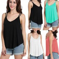 Fashion Women Sleeveless Solid Loose Pleated Top Blouse T Shirt Vest Tank Cami