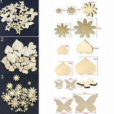 50Pcs Sizes Sewing Fitted Flower Butterfly Heart Buttons Scrapbooking Wood