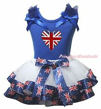 Queen Day Blue Cotton Top White UK Flag Heart Satin Trim Skirt Girls Set NB-8Y