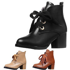 kala womens brogues High heels Ladies shoes Winter Oxford ankle Boots Size 2-13