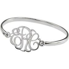 Sterling Silver 3 Letter Script Monogram Bangle Bracelet