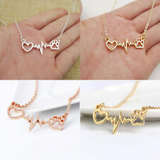 Fashion Vintage Jewelry Love Cats Dogs Paws Heart Heartbeat Pendant Necklace
