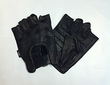 Deerskin Perferated Leather FINGERLESS Gloves Work Ride Motorcycle Driving Mens