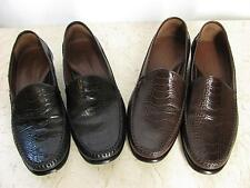 Johnston Murphy 9.5 Brown or Black Shoes Leather Snakeskin Alligator Embossed