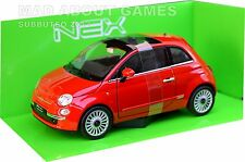 FIAT 500 1:24 Scale Metal Diecast Car Model Die Cast Models Cars Red