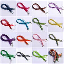 20/50/100X Organza Ribbon Waxen Cord Chain Necklaces Clasp Lobster Wholesale Lot