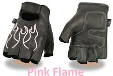 Black Leather FINGERLESS Gloves PINK FLAMES Gel Palm Motorcycle Biker Rider