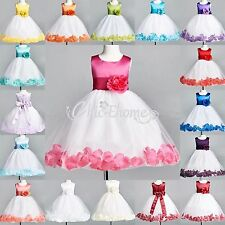 Petal Flower Girl Princess Pageant Party Wedding Formal Ball Gown Dress Birthday