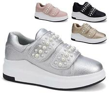 WOMENS FLATS FAUX LEATHER PUMPS PEARLS SPORTS GOTH LADIES TRAINERS SHOES SIZE