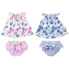 2Pcs Newborn Infant Baby Girls Floral Bowknot Romper Pants Bodysuit Outfit Set