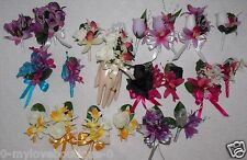 2PCS Corsage Boutonniere Set Orchids STATE YOUR STYLE WRIST OR PIN ON CORSAGE
