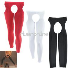 Sexy Men Crotchless Mesh See Through Tight Long Johns Pants Underwear Lingerie