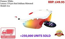 RayZor Uv400 White Sports Wrap Sunglasses Vented Red Mirrored Lens RRP£49 (612)