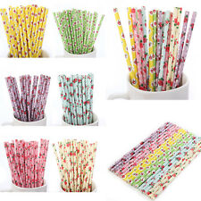 25Pcs Biodegradable Flower Floral Paper Drinking Straws Wedding Birthday Party