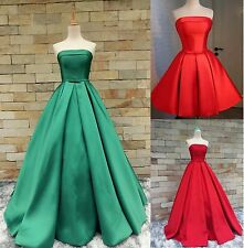 Strapless Satin Prom Party Pageant Long Evening Dress Bridesmaid Dress Custom