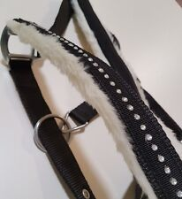 Diamante Black Horse Halter White Mink Padded Crystal Halter O-Ring Full & Cob
