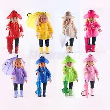 Set of 6pcs Raincoat Outfit Fit American Girl Dolls 18'' Doll Clothes Clothing