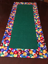 Game Room Colorful Billiard Balls & Green Felt Pool Table Runner by ThemeRunners
