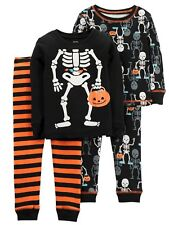 Carters Infant Boys 4-Piece Halloween Skeleton Long Sleeve Pajama Set