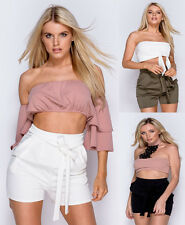 New Ladies Womens Casual High Waist Crepe Tie Belt Shorts Hot pants Shorts 6-14