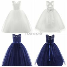 Kids Girl Lace Floral Dress Criss Cross Tulle Tutu  Princess Pageant Wedding New