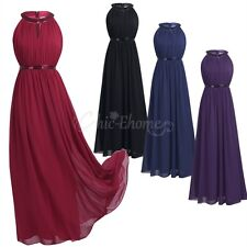 Women Long Evening Ball Prom Gown Formal Party Bridesmaid Cocktail Chiffon Dress