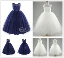 Flower Girl Kid Princess Lace Long Dress Party Wedding Pageant Prom Tulle Gown