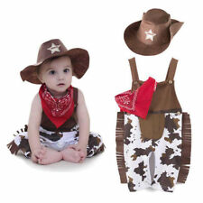 3pcs Baby Boys Costume Cowboy Overalls Hat Pants Outfit Clothing Set Suspenders
