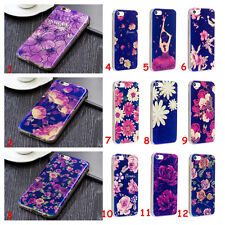For iPhone/Samsung Bluelight Slim Soft TPU Flower Silicone Skin Back Case Cover