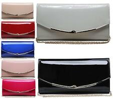 WOMENS LADIES FLAT ENVELOPE PATENT LEATHER GOLD CHAIN PARTY EVENING CLUTCH BAG