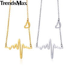 Womens Chain Stainless Steel Gold Silver Charm Necklace Heartbeat ECG EKG Link