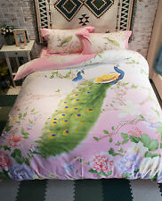 Elegant Pink Colourful Floral Nature Pattern With Iconic Peacock  Cotton Bed Set